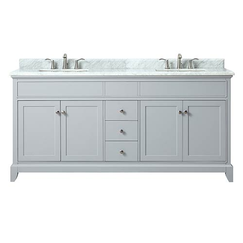 Azzuri Aurora 73 Inch Double Sink Vanity In Light Gray Finish With Carrera  White Marble Top