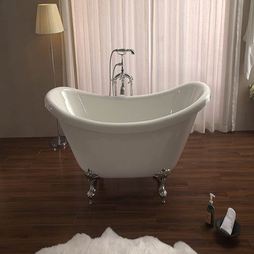Azzuri Nova 67 Inch Free Standing Acrylic Soaking Tub With Center Drain Pop Up And Overflow