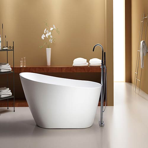 Marisol 67-inch Free Standing Acrylic Soaking Tub with Rear Drain, Pop-up Drain, and Overflow