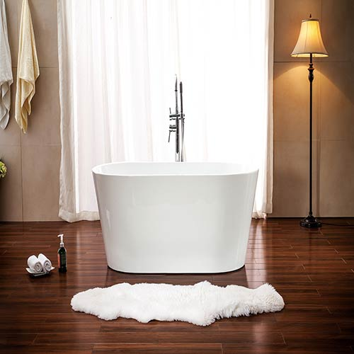 Lola 53-inch Free Standing Acrylic Soaking Tub with Center Drain, Pop-up Drain, and Overflow