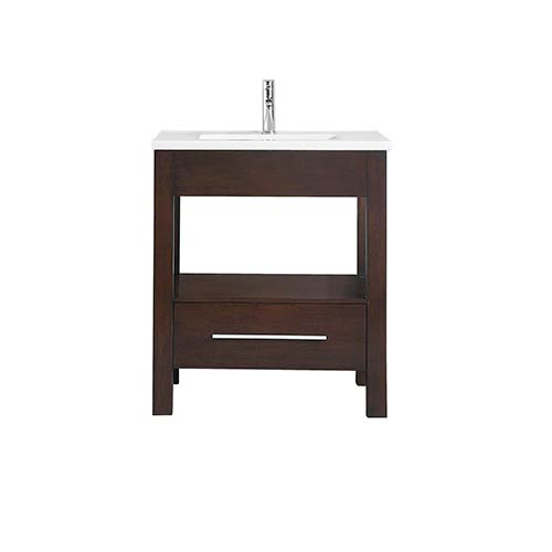 CityLoft 31 inch Vanity in Espresso finish with Integrated White Vitreous China Top