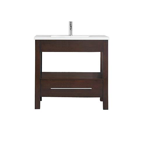Azzuri CityLoft 37 inch Vanity in Espresso finish with Integrated White Vitreous China Top