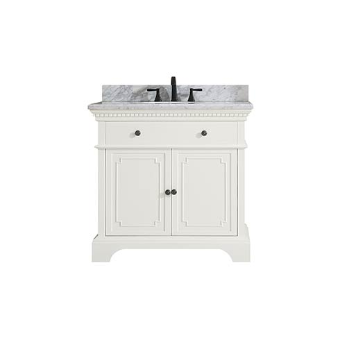 Hastings 37 inch Vanity in French White finish with Carrera White Marble Top