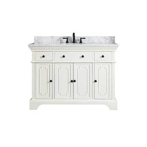 Hastings 49 inch Vanity in French White finish with Carrera White Marble Top