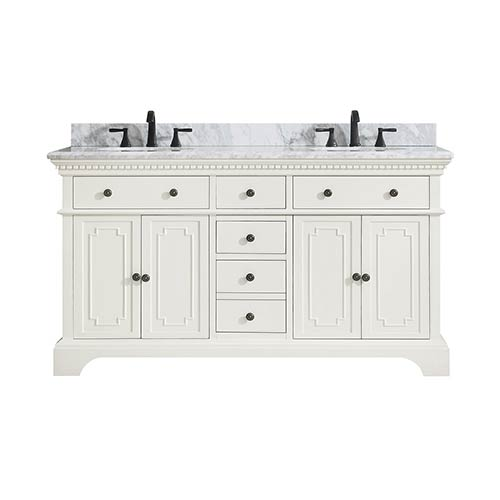 Hastings 61 inch Double Sink Vanity in French White finish with Carrera White Marble Top