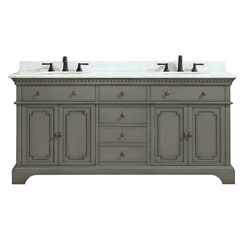 Hastings 73 inch Double Sink Vanity in French Gray finish with Carrera White Marble Top