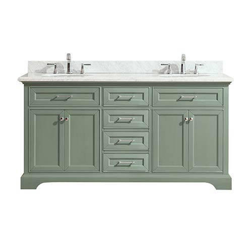 Azzuri Mercer 73 Inch Double Sink Vanity In Sea Green Finish With Carrera  White Marble Top