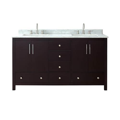 Azzuri Rockford 61 inch Double Sink Vanity in Dark Espresso finish with Carrera White Marble Top
