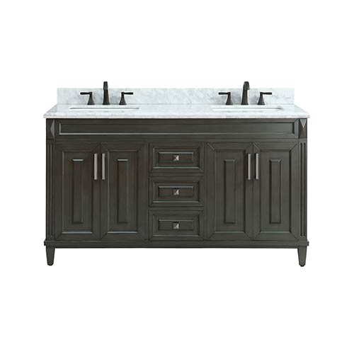 Sterling 61 inch Double Sink Vanity in Charcoal finish with Carrera White Marble Top