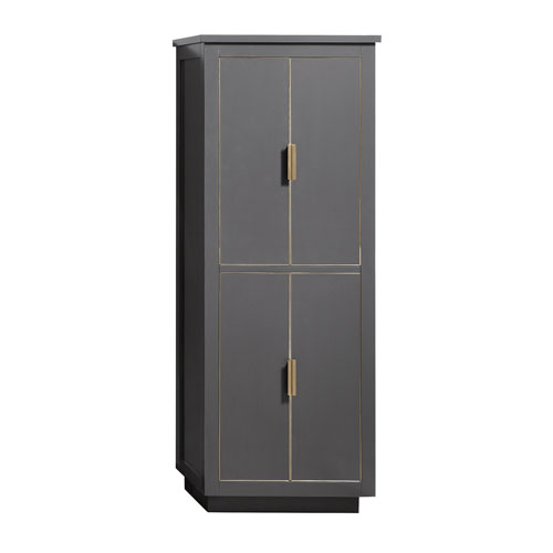 Twilight Gray Matte Gold 24-Inch Linen Tower