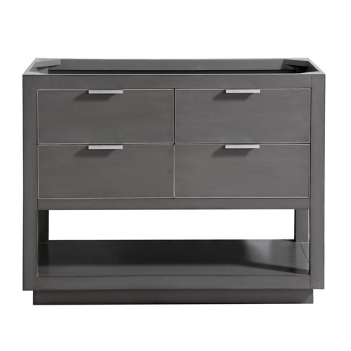 Allie 42-Inch Twilight Gray Brushed Silver Vanity Only