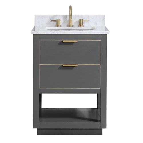 Avanity Allie 25-Inch Twilight Gray and Matte Gold Vanity Combo