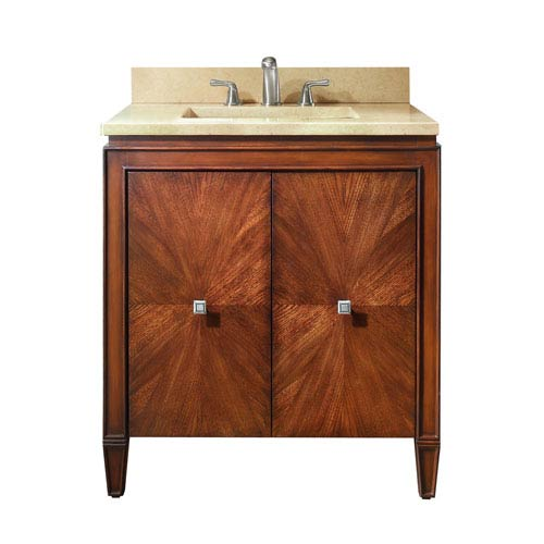 Brentwood 31-Inch New Walnut Vanity with Galala Beige Marble Top