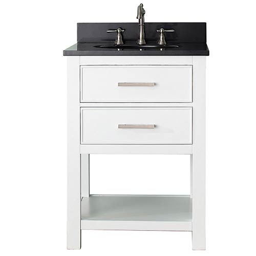Avanity Brooks White 24-Inch Vanity Combo with Black Granite Top