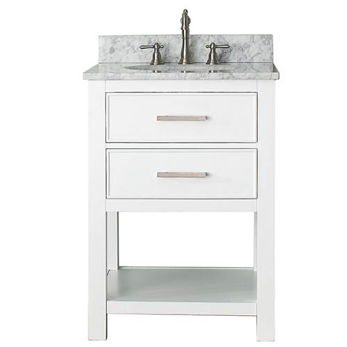 Avanity Brooks White 24 Inch Vanity Combo With Carrera Marble Top