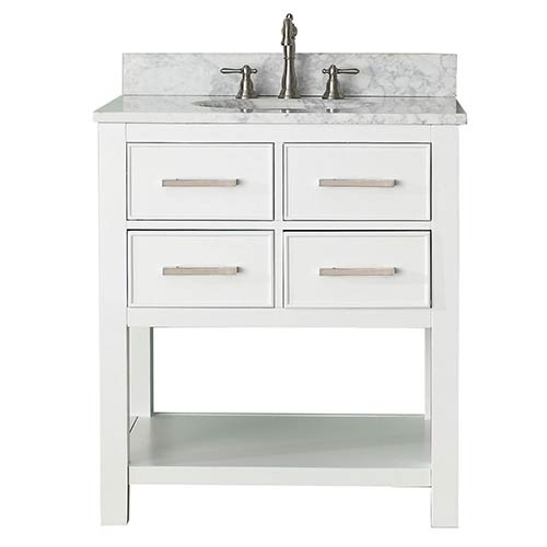 Brooks White 30-Inch Vanity Combo with Carrera White Marble Top