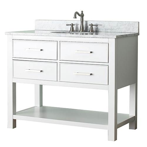 Avanity Brooks White 42 Inch Vanity Combo With Carrera White Marble
