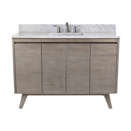 Coventry 49 inch Vanity in Gray Teak with Carrara White Top