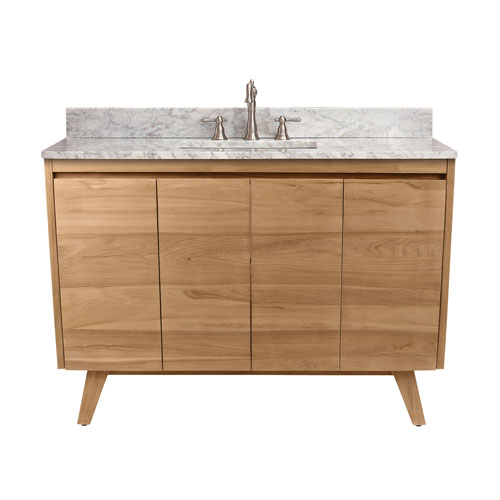 Avanity Coventry 49 Inch Vanity In Natural Teak With Carrara White Top