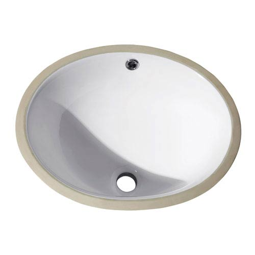 Undermount 16-Inch Oval Vitreous China Ceramic Sink in White