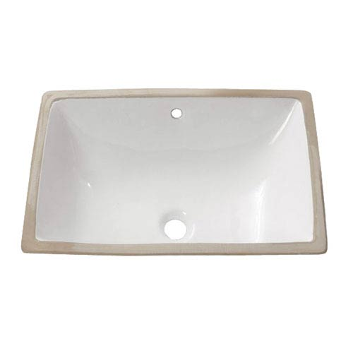 Undermount 22-Inch White Rectangular Vitreous China Sink