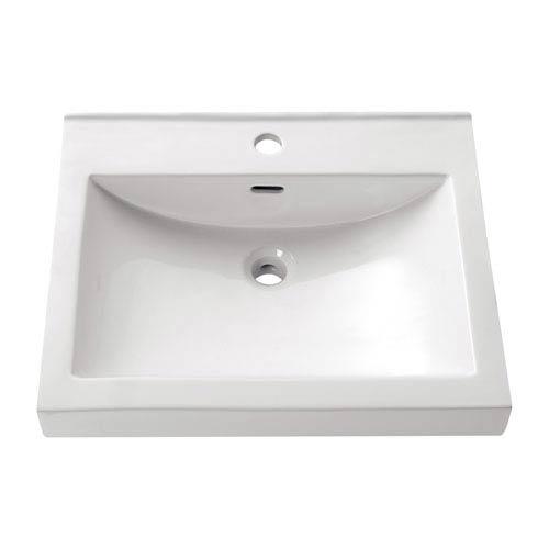 Semi Recessed 22-Inch White Rectangular Vitreous China Sink