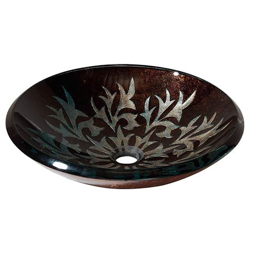 Black Autumn Leaf Tempered Glass Vessel Sink Without Overflow