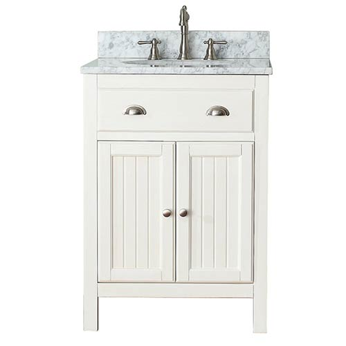 Avanity Hamilton French White 24 Inch Vanity Combo With Carrera Marble Top