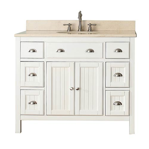 Hamilton French White 42-Inch Vanity Combo with Galala Beige Marble Top