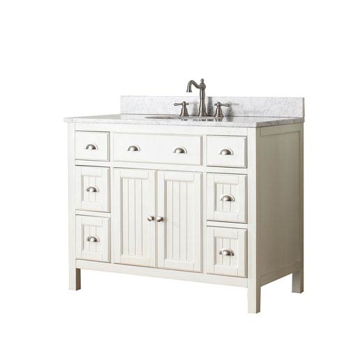 Avanity Hamilton French White 42-Inch Vanity Combo with White Carrera Marble Top