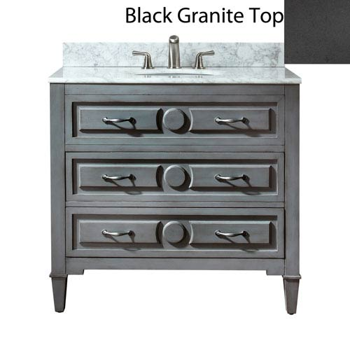 Avanity Kelly 36-Inch Grayish Blue Vanity with Black Granite Top