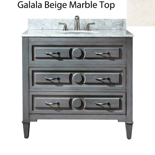 Avanity Kelly 36-Inch Grayish Blue Vanity with Galala Beige Marble Top