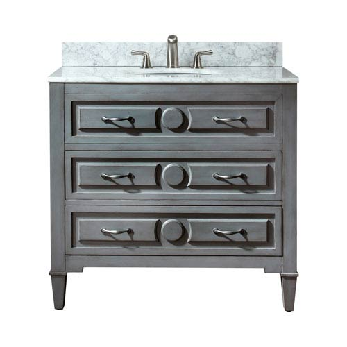 Avanity Kelly 36-Inch Grayish Blue Vanity with Carrera White Marble Top