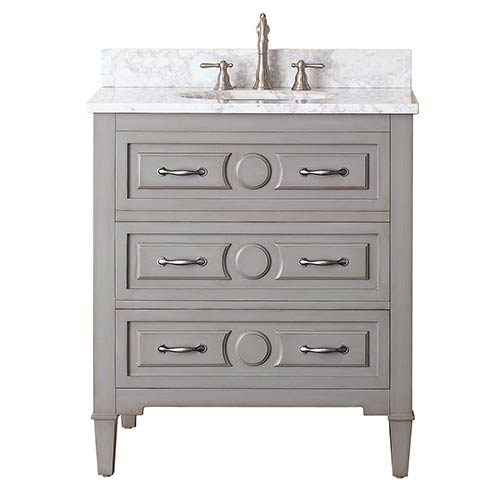 Kelly Grayish Blue 30 Inch Vanity Combo With White Carrera Marble Top