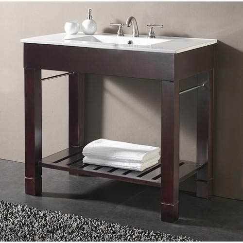 Loft 36-Inch Dark Walnut Vanity and Vitreous China Counter Top