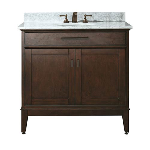 Madison Tobacco 36-Inch Sink Vanity with Carrera White Marble Top