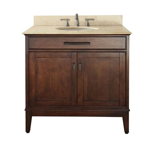 Madison Tobacco 36-Inch Vanity with Marble Top