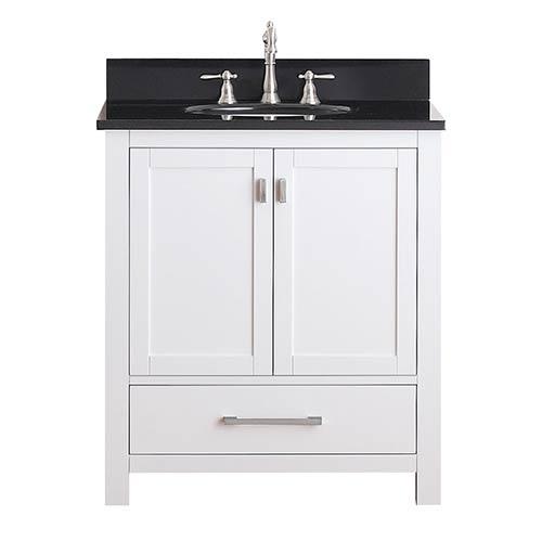 Avanity Modero White 30-Inch Vanity Combo with Black Granite Top