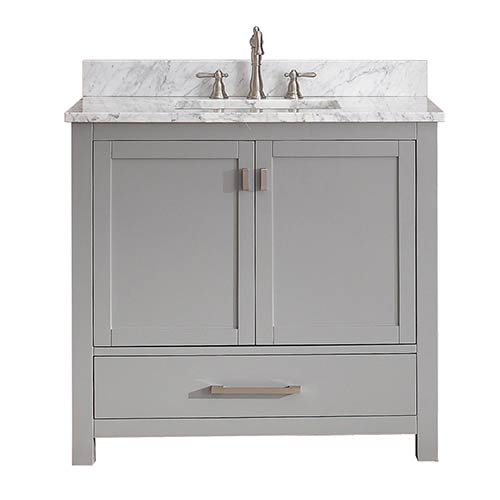 Modero Chilled Gray 36 Inch Vanity Combo With White Carrera Marble Top