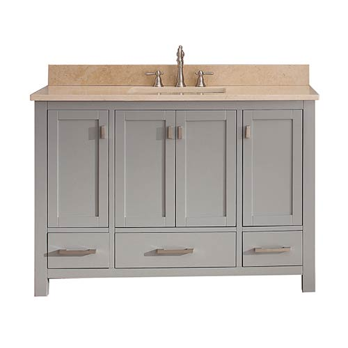 Avanity Modero Chilled Gray 48-Inch Vanity Combo with Galala Beige Marble Top