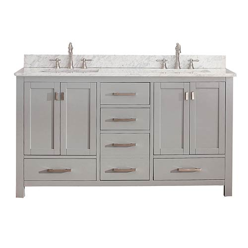 Modero Chilled Gray 60 Inch Double Vanity Combo With White Carrera Marble Top