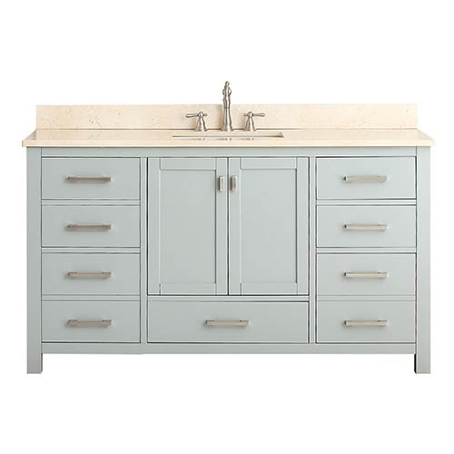 Avanity Modero Chilled Gray 60-Inch Single Vanity Combo with Galala Beige Marble Top