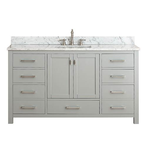 Avanity Modero Chilled Gray 60 Inch Single Vanity Combo With White Carrera Marble Top