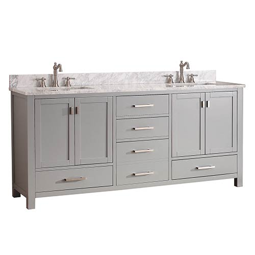 Avanity Modero Chilled Gray 72 Inch Double Vanity Combo With White