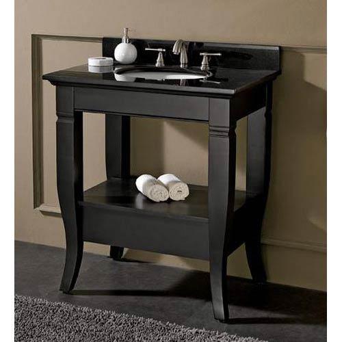 Milano 30-Inch Black Vanity with Black Granite Top and Undermount Sink