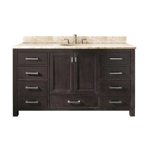 Modero 60-Inch Espresso Single Vanity with Galala Beige Marble Top and Single Sink