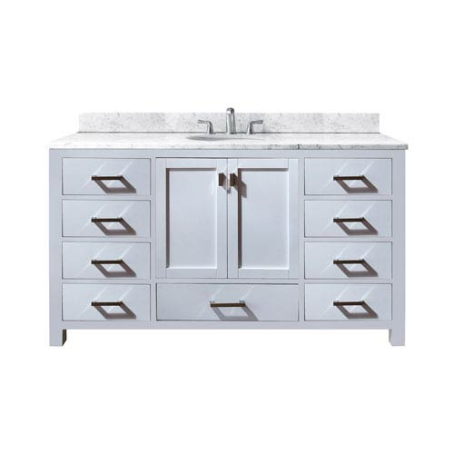 Modero 60-Inch White Single Vanity with Carrera White Marble Top and Single Sink