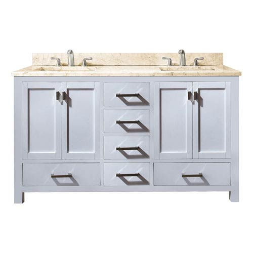 Avanity Modero 60-Inch White Double Vanity with Galala Beige Marble Top and Double Sinks