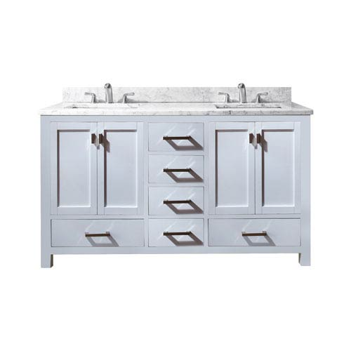 Modero 60-Inch White Double Vanity with Carrera White Marble Top and Double Sinks