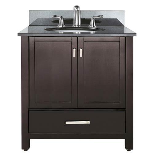 Avanity Modero Espresso 36 Inch Sink Vanity With Black Granite Marble Top